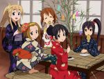 akiyama_mio alternate_hairstyle bamboo barefoot black_eyes black_hair blonde_hair blue_eyes brown_eyes brown_hair eating food fork hair_bun hirasawa_yui japanese_clothes k-on! kimono kotobuki_tsumugi kumosuke long_hair looking_back mask mouth_hold multiple_girls nakano_azusa plate ponytail scrunchie short_hair side_ponytail sitting squatting tainaka_ritsu taiyaki tanabata tanzaku wagashi yukata