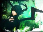 3d arsenixc bad_id black_hair black_rock_shooter choker dead_master green_eyes highres horns realistic wings