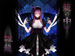 bad_id choker closed_eyes dress flower gothic_lolita hairband lolita_fashion megurine_luka purple_hair rebelizm ribbon vocaloid wings