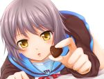 blush cardigan chobipero chocolate close-up face grey_hair highres holding holding_gift incoming_gift nagato_yuki no_glasses pov_feeding school_uniform short_hair silver_hair suzumiya_haruhi_no_yuuutsu valentine yellow_eyes