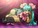 aqua_hair barefoot checkered cherry chibi couch dress elbow_gloves food frills fruit gloves hair_ribbon hatsune_miku high_heels long_hair lying maico_(laserspark) on_side pillow ribbon shoes twintails very_long_hair vocaloid world_is_mine_(vocaloid)