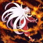 angry bow fire fujiwara_no_mokou hair_ribbon kinuko_(artist) long_hair open_mouth red_eyes ribbon silver_hair solo tomobe_kinuko touhou very_long_hair