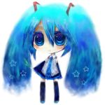 bad_id blue_eyes blue_hair chibi detached_sleeves hatsune_miku long_hair rabbitsoul-y simple_background skirt solo spring_onion star thigh-highs thighhighs twintails vocaloid white_background zettai_ryouiki