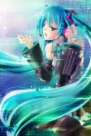 aqua_eyes aqua_hair bad_id bare_shoulders binary black_legwear black_thighhighs detached_sleeves digital_dissolve hatsune_miku hatsune_miku_no_shoushitsu_(vocaloid) headset highres kneeling long_hair nekou_izuru signature solo tears thigh-highs thighhighs very_long_hair vocaloid