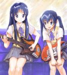 akiyama_mio blue_eyes blue_hair brown_eyes fender guitar hirokazu instrument k-on! long_hair multiple_girls mustang(guitar) nakano_azusa school_uniform traditional_media twintails