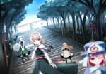 3girls alice_margatroid apron blonde_hair blue_eyes blue_sky blurry bow capelet clere depth_of_field dress floating forest hair_bow hair_ribbon hand_on_own_chest headband hokora_(shrine) kneehighs konpaku_youmu konpaku_youmu_(ghost) light_smile long_hair long_sleeves mob_cap multiple_girls nature pink_eyes pink_hair ribbon saigyouji_yuyuko sash shanghai_doll short_hair short_sleeves skirt skirt_set sky stairway touhou triangular_headpiece v_arms waist_apron white_hair wink