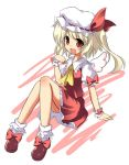 alternate_wings angel_wings bad_id blonde_hair fang flandre_scarlet hat itamochi mini_angel_wings open_mouth red_eyes side_ponytail sitting smile solo touhou wings wrist_cuffs