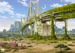 cityscape cloud clouds highres moon no_humans original overgrown ruins scenery sky tokyo_rainbow_bridge tokyo_tower tokyogenso