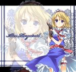 alice_margatroid bad_id blonde_hair blue_eyes character_name fingerless_gloves garters gloves hairband legband short_hair solo subachi touhou zoom_layer