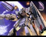 beam_rifle earth explosion fin_funnel fin_funnels gun gundam gundam_msv mecha nu_gundam nu_gundam_hws ra_(pixiv) shield solo space weapon
