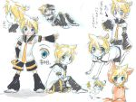 800x600 asata bad_id banana_peel bell blonde_hair blue_eyes cat_costume catsuit chibi detached_sleeves eringihata eyes falling hand_on_hip happy kagamine_len leaning long_sleeves lying male necktie open_mouth ribbon short_hair sitting sketch smile standing thinking translated vocaloid wallpaper