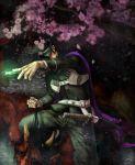 black_hair cape cherry_blossoms devil_summoner guri_otoko hat kuzunoha_raidou male oni red_oni short_hair solo
