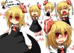blonde_hair blush expressions fang fangs hair_ribbon heart mizuki_(lv43) mizuki_(sitename) outstretched_arms red_eyes ribbon rumia short_hair spread_arms tears touhou translation_request