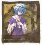 absurdres ayanami_rei blue_hair bow hair_over_one_eye highres neon_genesis_evangelion official_art pale_skin red_eyes ribbon sadamoto_yoshiyuki scan school_uniform short_hair solo