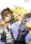 bad_anatomy blonde_hair blue_eyes brown_hair cloud_strife dissidia_final_fantasy final_fantasy final_fantasy_vii final_fantasy_viii green_eyes impossible_clothes impossible_shirt jewelry khanshin male multiple_boys muscle necklace scar shirt short_hair sleeveless sleeveless_turtleneck spiked_hair spiky_hair squall_leonhart turtleneck