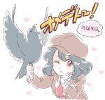 1girl alternate_costume bird black_hair crow hat heart mitsumoto_jouji necktie one_eye_closed pointy_ears red_eyes shameimaru_aya sketch solo touhou translation_request