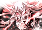 1girl breasts central_hime glowing glowing_eyes hair_between_eyes horns kantai_collection large_breasts long_hair machinery open_mouth red_eyes senomoto_hisashi shinkaisei-kan solo teeth very_long_hair white_hair white_skin
