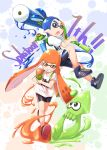 1boy 1girl anniversary bangs bike_shorts black_shorts blue_eyes blue_hair blue_shoes blunt_bangs copyright_name domino_mask grin gurande_(g-size) highres holding holding_weapon ink_tank_(splatoon) inkling jumping looking_at_another looking_at_viewer mask open_mouth orange_eyes orange_hair orange_shoes paint_splatter pointy_ears print_shirt running shirt shoes short_sleeves shorts single_vertical_stripe smile sneakers splat_roller_(splatoon) splatoon splattershot_(splatoon) squid t-shirt tentacle_hair topknot weapon white_background white_shirt