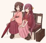 2girls bench boots bow brown_hair cross-laced_footwear drill_hair enu_(roco_roco44) floral_print gradient_hair hair_bow harukaze_(kantai_collection) high_heel_boots high_heels japanese_clothes kamikaze_(kantai_collection) kantai_collection kimono lace-up_boots long_hair looking_at_viewer meiji_schoolgirl_uniform multicolored_hair multiple_girls oriental_umbrella pink_hair pink_hakama pink_kimono purple_hair red_bow red_eyes red_hakama ribbon simple_background sitting suitcase twin_drills umbrella violet_eyes yellow_ribbon