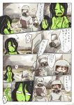 1boy 2girls black_hair comic epiphany_trebuchet green_skin hazmat_suit highres hokuouran long_hair multiple_girls nude scp-811 scp_foundation translation_request water