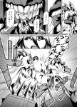 1boy 1girl autobot battle battleship_hime comic crossover fighting_stance grimlock kamizono_(spookyhouse) kantai_collection long_hair machine machinery mecha monochrome open_mouth robot science_fiction transformers translation_request turret weapon