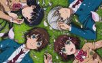 2boys 2girls black_hair blazer blue_eyes bow bowtie brown_hair cherry_blossoms circle_formation from_above grass green_eyes hair_ornament highres jacket kakumeiki_valvrave l-elf lying multiple_boys multiple_girls necktie official_art on_back open_mouth rukino_saki sashinami_shouko school_uniform silver_hair smile tokishima_haruto violet_eyes