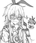 2girls :3 cosplay costume_switch crossover gloves goggles grin hair_ribbon highres kantai_collection kvlen looking_at_viewer monochrome multiple_girls one_eye_closed overwatch ribbon shimakaze_(kantai_collection) shimakaze_(kantai_collection)_(cosplay) smile sparkle tracer_(overwatch) tracer_(overwatch)_(cosplay)