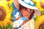 1girl blue_sky bow braid brown_eyes brown_hair clouds dress earrings flower hat hat_bow jewelry konomi_(kumagai20) looking_at_viewer open_mouth original outdoors sky solo summer sun_hat sunflower white_dress white_hat