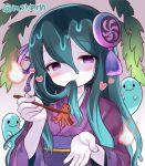 1girl blush chopsticks ghost green_hair hair_in_mouth hamahime_(p&d) hitodama japanese_clothes kimono long_hair marshmallow_mille obi puzzle_&_dragons sash seaweed solo tako-san_wiener violet_eyes
