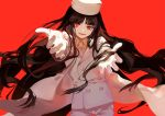 1girl bangs black_hair dhiea formal fur_hat girlycard gloves hat hellsing hellsing:_the_dawn long_hair necktie outstretched_arms red_background red_eyes simple_background smile solo suit white_suit