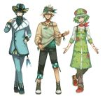 androgynous aqua_hair aqua_hat asymmetrical_clothes awii bandana black_pants blonde_hair blue_eyes blue_pants brown_eyes crocs cross-laced_footwear formal full_body green_clothes green_eyes green_hair green_hat hand_in_pocket hat jewelry leafeon lipstick makeup multiple_boys necklace open_mouth outstretched_arms pants parted_lips personification pokemon shaymin shoes smile sneakers standing suit vaporeon wristband
