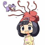 1girl :d bangs beanie black_hair blunt_bangs blush closed_eyes female_protagonist_(pokemon_sm) hat kanikama lowres motion_lines open_mouth pokemon pokemon_(creature) pokemon_(game) pokemon_sm rattata red_hat restrained round_teeth shirt short_sleeves simple_background smile teeth tentacles white_background wince yellow_shirt