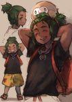 1boy 3boys arms_behind_head bird dark_skin ezroseven green_hair grin hau_(pokemon) multiple_boys multiple_persona open_mouth owl pokemon pokemon_(creature) pokemon_(game) pokemon_sm rowlet smile