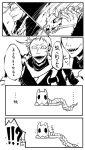 !!? 1boy comic enemy_tantou fangs historical_revisionist holding holding_weapon in_mouth iwatooshi male_focus monochrome sharp_teeth skeleton tearing_up teeth touken_ranbu tsukasa_(tsukasa_mimizuku) weapon