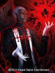 1boy cthulhu_mythos dark_skin eldritch_abomination gloves mazeran multiple_persona nyarlathotep priest red_eyes shining_trapezohedron white_gloves white_hair