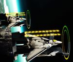 artist_request hologram launch_pad launching macross macross_delta macross_frontier mecha n.u.n.s. photo_background planet realistic science_fiction space space_craft variable_fighter vf-171
