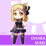 blonde_hair blush braids chibi hair_rings love_live! love_live!_sunshine!! ohara_mari seifuku short_hair smile yellow_eyes