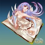 1girl aqua_hair book cthulhu_mythos long_hair musora necronomicon original personification red_eyes tattoo