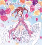 balloons birthday blush brown_eyes brown_hair dress idolmaster idolmaster_cinderella_girls long_hair ogata_chieri twintails