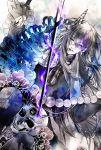 1boy dark_persona enemy_yari gloves glowing half_gloves highres historical_revisionist juzumaru_tsunetsugu long_hair nijou_akira pale_skin parted_lips skeleton skull solo touken_ranbu very_long_hair violet_eyes