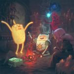 adventure_time ashen_one_(dark_souls_3) bmo bonfire candle commentary cosplay crossover dark_souls_iii finn fire fire_keeper fire_keeper_(cosplay) glowing highres ice_king jake jason_chan marceline_abadeer mask mimic mimic_(dark_souls) mimic_chest parody princess_bonnibel_bubblegum sitting souls_(from_software) sword wand weapon