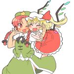 2girls beret black_bow black_bowtie blonde_hair blush bow bowtie braid closed_eyes commentary_request fang flandre_scarlet glomp green_hat green_skirt green_vest hair_ribbon hat hat_ribbon hong_meiling hug ini_(inunabe00) interlocked_fingers mob_cap multiple_girls one_eye_closed open_mouth outstretched_arms puffy_short_sleeves puffy_sleeves red_eyes red_ribbon red_skirt redhead ribbon short_sleeves side_ponytail simple_background skirt skirt_set smile star star_pin touhou tress_ribbon twin_braids white_background white_hat wings