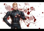 1boy absurdres aqie blonde_hair blood blood_splatter bloody_hands blue_eyes captain_america highres letterboxed marvel solo steve_rogers superhero