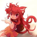 1girl animal_ears cat_ears cat_tail highres long_hair original red_eyes redhead slit_pupils solo tail yume_shokunin