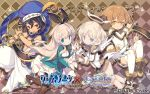 2boys 2girls abs aladdin_(grimms_notes) alice_(grimms_notes) angel angel_wings animal_ears arabian_clothes black_hair blonde_hair blue_eyes blush boots brown_eyes brown_hair company_connection copyright crossover dog_ears dog_tail dress grimms_notes hair_ribbon halo hat_feather highres long_hair low_wings mismatched_legwear misty_sheikh multiple_boys multiple_girls official_art oil_lamp open_mouth pants pleated_skirt pointy_ears pop-up_story ribbon scimitar short_hair skirt smile square_enix striped striped_legwear sword tail thigh-highs turban weapon white_legwear wings yuri_ressen