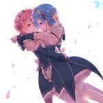 2girls ayakashi_(monkeypanch) blue_eyes blue_hair blush closed_mouth flower hair_flower hair_ornament hair_over_one_eye hair_ribbon highres hug looking_at_viewer maid multiple_girls mutual_hug petals pink_eyes pink_hair ram_(re:zero) re:zero_kara_hajimeru_isekai_seikatsu red_ribbon rem_(re:zero) ribbon siblings simple_background sisters smile twins white_background wind