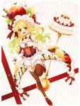 1girl :d absurdres blonde_hair blueberry bow breasts cake cherry cleavage collarbone corset detached_sleeves diagonal_stripes earrings facial_mark food food_themed_clothes fruit garter_straps gloves grapes green_eyes green_hair highres hoshi_no_pon jewelry kiwifruit leg_up long_hair multicolored_hair open_mouth orange orange_slice original red_bow red_shoes ribbon-trimmed_clothes ribbon-trimmed_sleeves ribbon_trim shoes short_sleeves shorts smile solo star star_earrings strawberry striped striped_bow striped_gloves striped_legwear thigh-highs two-tone_hair wavy_hair whipped_cream white_shorts