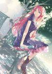 1girl brown_hair dress hair_ornament highres long_hair namine_ritsu outdoors sitting solo tree umu_(pixiv2396283) utau water
