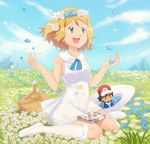 1girl :d basket blue_eyes blue_flower blue_sky cosplay doll dress gazing_eye hat hat_removed head_wreath headwear_removed lillie_(pokemon) lillie_(pokemon)_(cosplay) md5_mismatch open_mouth outdoors picnic_basket pokemon satoshi_(pokemon) serena_(pokemon) shoes sitting sky smile solo wariza white_dress white_flower white_hat white_legwear white_shoes