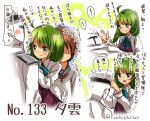 1boy 2girls :d admiral_(kantai_collection) ahoge artist_name blue_bow blue_bowtie blue_eyes blush bow bowtie character_name commentary_request dressing empty_eyes green_hair hair_ornament hairclip hat ikazuchi_(kantai_collection) kantai_collection long_sleeves military military_uniform motion_lines multiple_girls naval_uniform number o_o open_mouth peaked_cap shaded_face shadow shirt smile suzuki_toto sweatdrop translation_request twitter_username uniform upper_body white_hat white_shirt yuugumo_(kantai_collection)